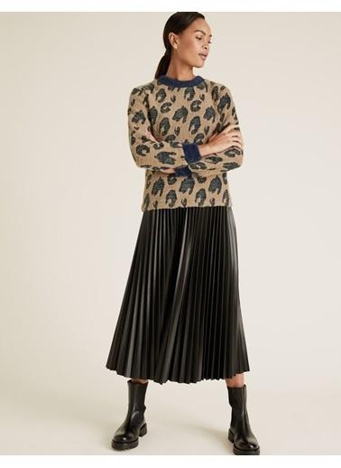 Marks & Spencer Desenli Jakarlı Bluz Lacivert